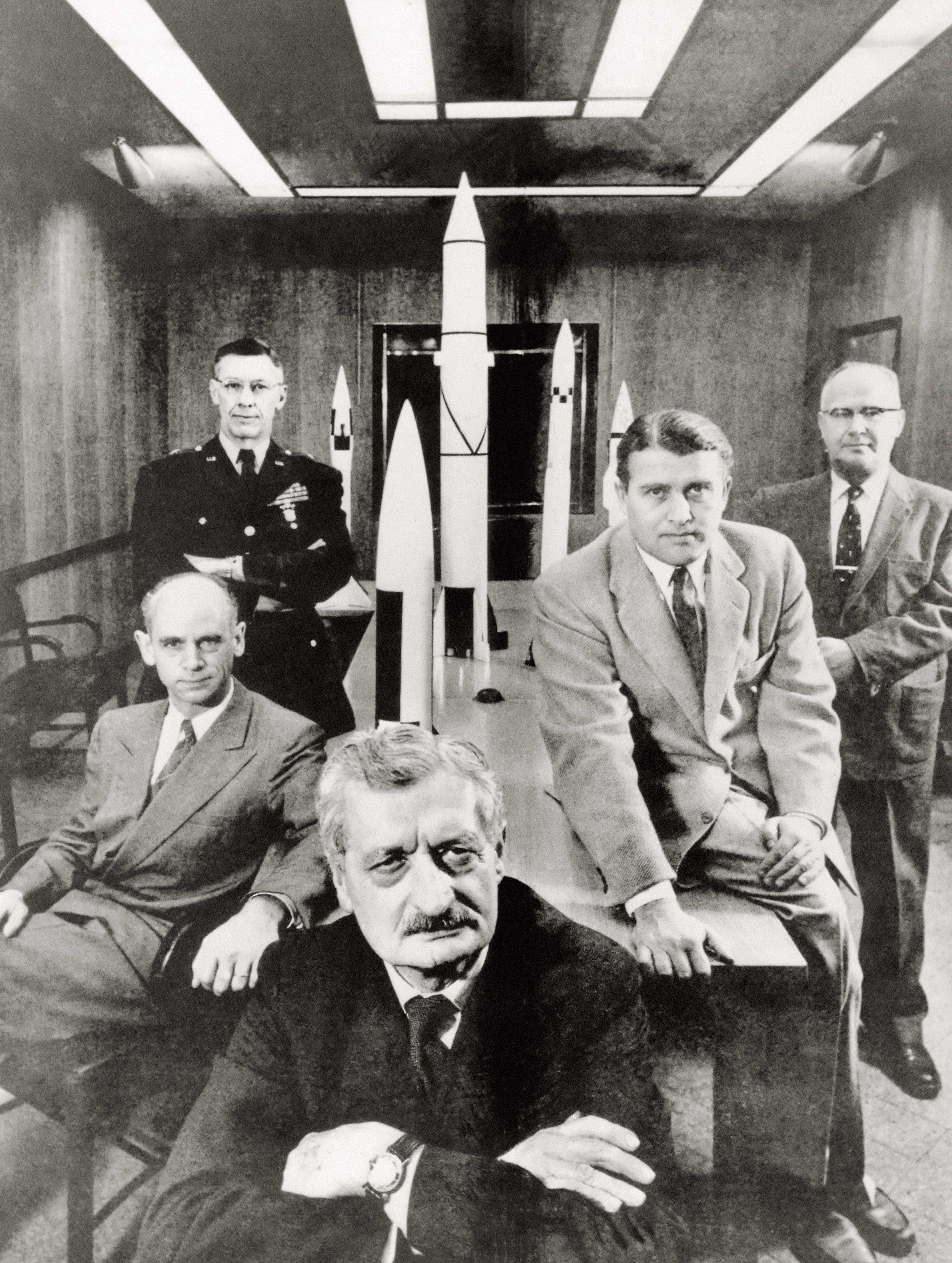 Hermann Oberth, Ernst Stuhlinger, Maj. Gen Toftoy, von Braun , 1956