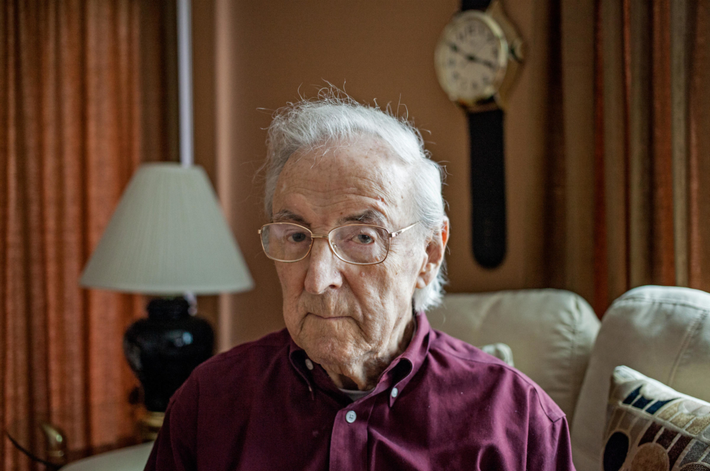 Charlie Cavell --WW II Vet subjected to military's secret mustard gas experiments -- at his home in Virginia.